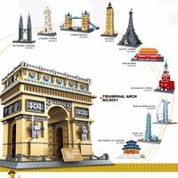 Legoed city 2019 Lepins Famous Architecture Wange Taj Mahal London Paris town bridge Model building blocks children bricks toys