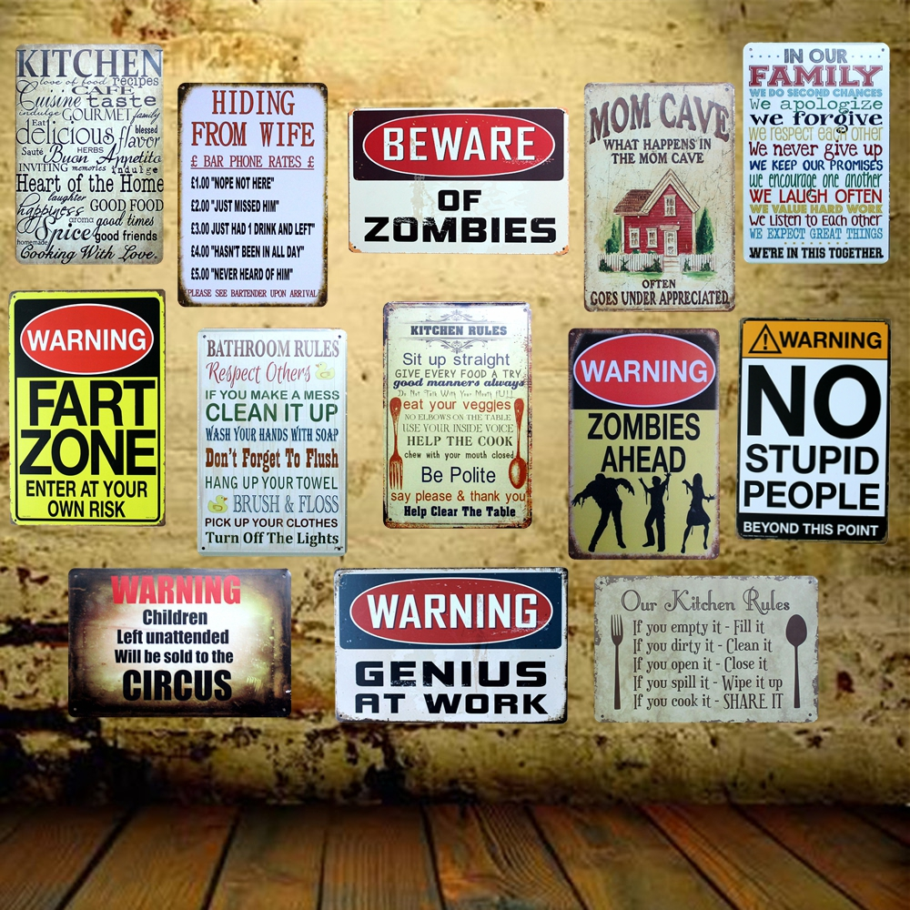 [ Mike86 ] Beware Zombies Kitchen Family Rule Wall Tin Sign Metal Painting Retro Gift Pub Office Home Decor 20X30 CM AA-938B