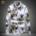 MIUK 2017 Большой Размер Цветочные Мужчины Рубашка 4XL 5XL Национальный Стиль Марка Хлопка С Длинным Рукавом Рубашки Мода Camisetas Masculinas