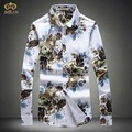 MIUK 2017 Large Size Flower Men Dress Shirt 4XL 5XL National Style Brand Cotton Long Sleeve Shirts Fashion Camisetas Masculinas