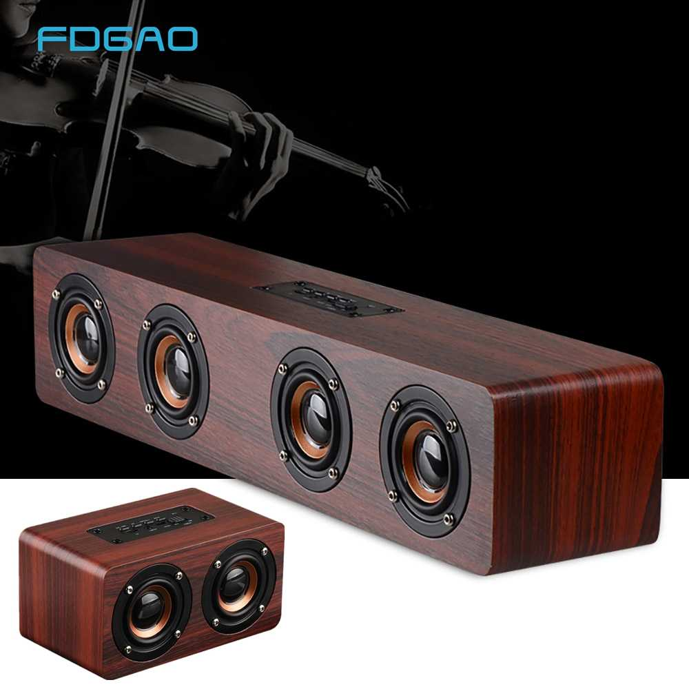 Kayu Nirkabel Bluetooth Speaker Super Bass Portable Home Theater Soundbar TV Speaker Subwoofer Bluetooth Kolom Pengeras Suara