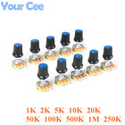 10 PCS Linear Potentiometer 15mm Shaft With Nuts And Potentiometer Button Cap for 1K 2K 5K 10K 20K 50K 100K 500K 1M 250K WH148