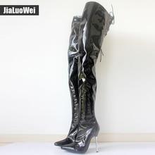 2017 Gran Tamaño de la Mujer de Invierno/Otoño de Plegado Sobre la Rodilla Botas Sexy Delgadas de Tacón Alto Botas de Moda Botas de punta en punta de Las Mujeres zapatos