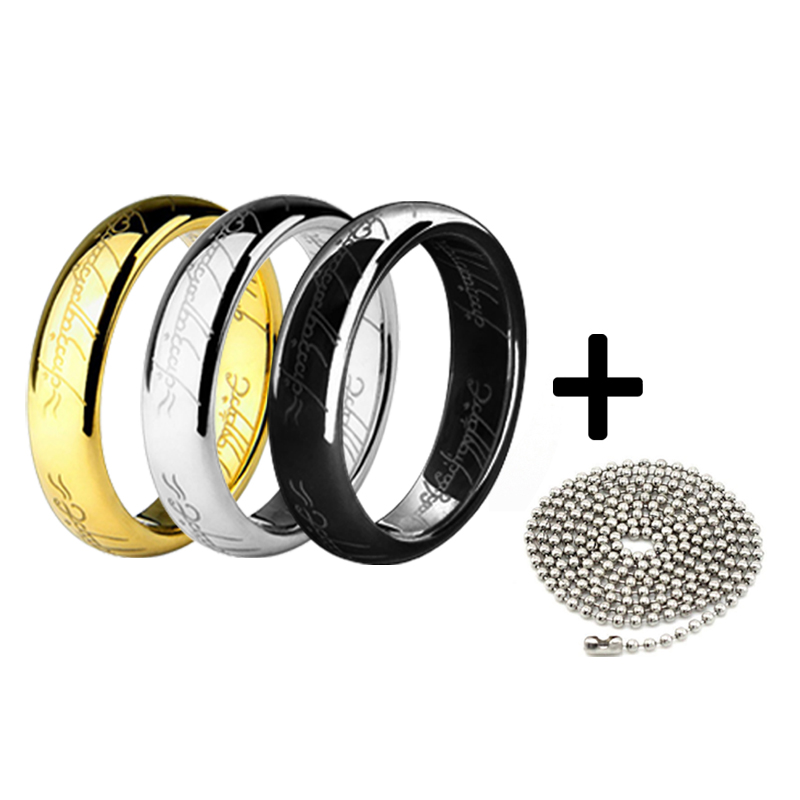 Hobbit smycken ringar med kedja Titanium Steel Ring 3Colors Gold / Silver / Black Factory Direct Sale