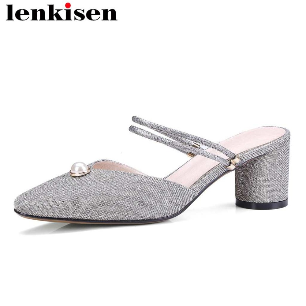 Lenkisen new sequined cloth pearl slingback med heels solid mules slip on square toe high street fashion women leather pumps L83