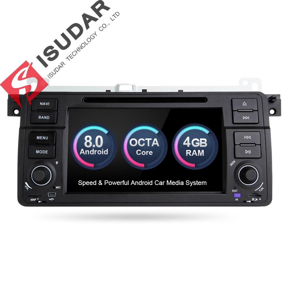 Isudar Voiture lecteur Multimédia Android 8.0 GPS Autoradio 1 Din Système Stéréo Pour BMW/E46/M3/Rover /3 série RAM 4g WIFI FM Radio