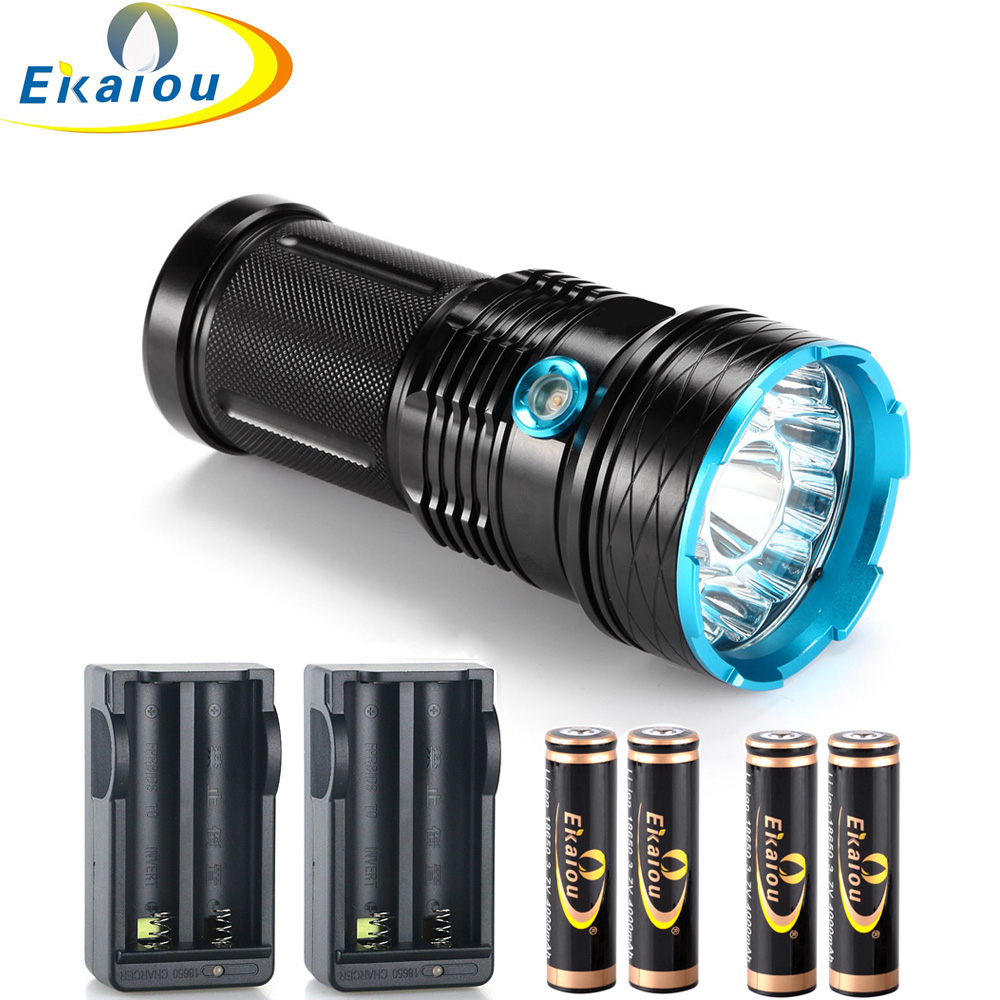 2018 nuevo Waterproof 3 Mode LED Flashlight 30000 lm 12x T6 linternas tácticas Hunting Torch & 18650 Batería y cargador