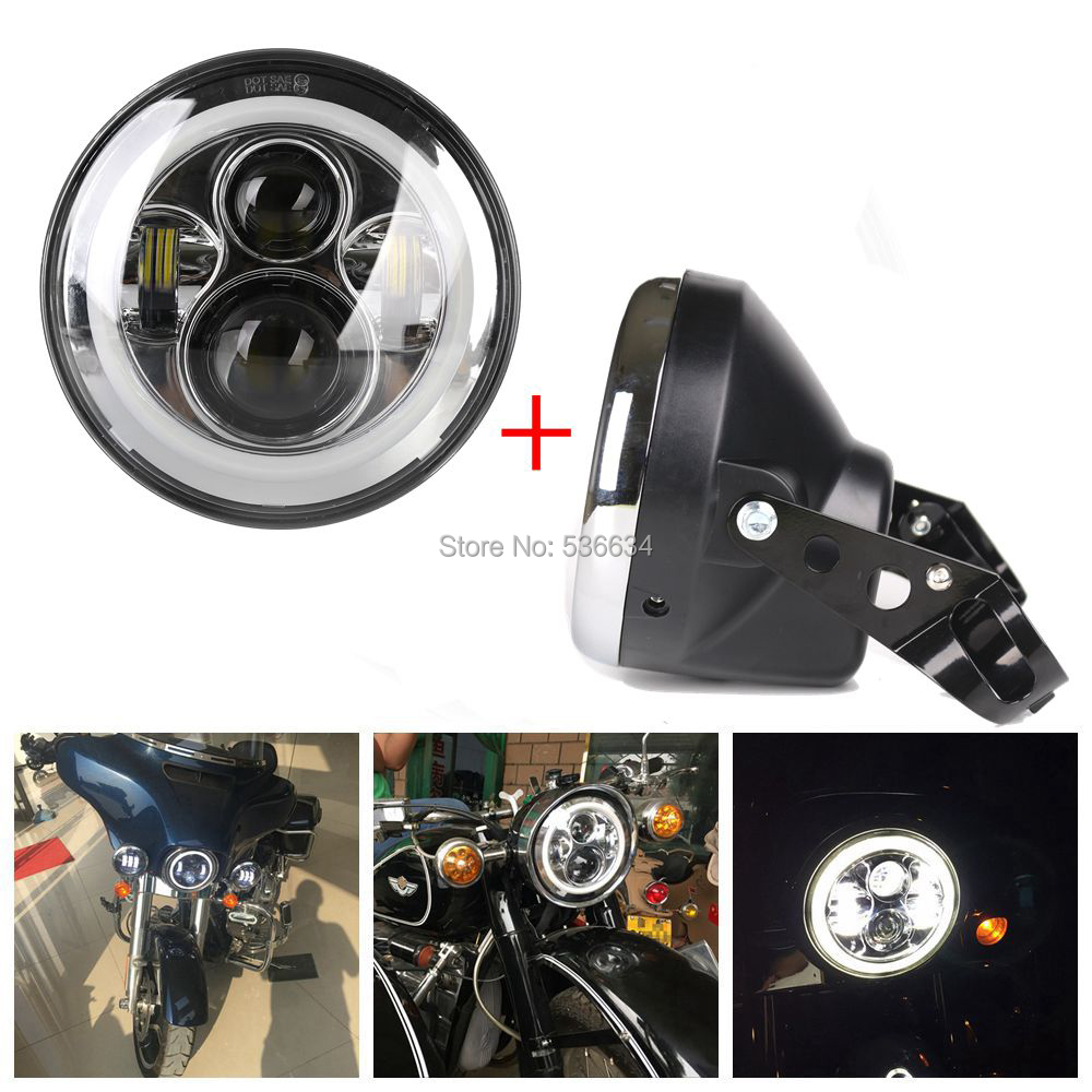 7 inch led Projector Daymaker headlight with Headlamp Shell or Lamp Shell for Harley Davidson Heritage Softail chrome custom motorcycle skeleton mirrors for harley davidson softail heritage classic