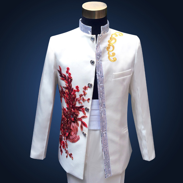Free Shipping Brand New 18th Century Red Flower Embroidered Men Suit
