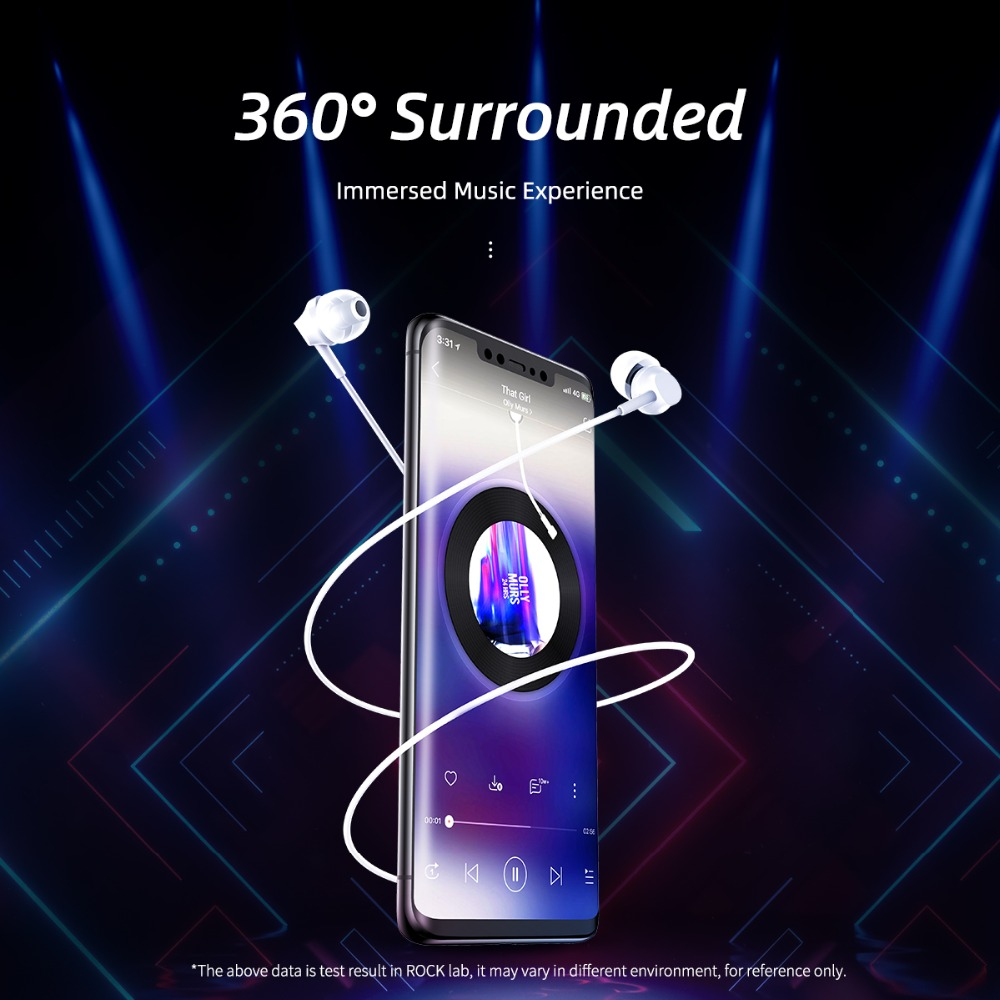 ROCK SPACE In-ear Music Earphones with Mic Game Headsets 3 5mm Jack HiFi  Bass Stereo Sound For iPhone Samsung Huawei