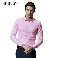 FKZ Hot Popular Men Business Shirt Spring/Autumn Male Solid Color Dress Shirt Long Sleeve Slim Fit Chemise Social Size GNS907