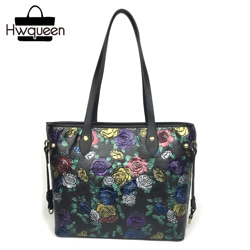 Embossing Floral Pattern Genuine Cow Leather Lady Totes Bag Zipper Closure Female Top handle Handbag Woman