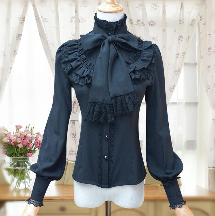 Vintage femme chemise manches longues gothique mousseline de soie dentelle à volants Blouse rouge/noir/blanc/bleu marine lolita victorienne chemise de chambre - 3