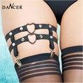 Женские сексуальные подвязки ног пояс metal heart body harness фетиш белье punk rock эластичный заклепки подтяжки P0047