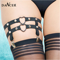 Women 's sexy leg garters belt metal heart body harness fetish lingerie punk rock elastic rivet suspenders P0047