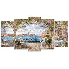 Diamante bordado seaside town 5 pçs imagem de strass quadrado completo diamante mosaico paisagem série quarto decoração dom gt