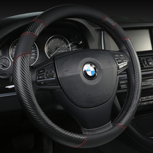цена на KKYSYELVA Black Car Steering Wheel Cover Leather Steering Covers Auto Steering-wheels Car Interior Accessories