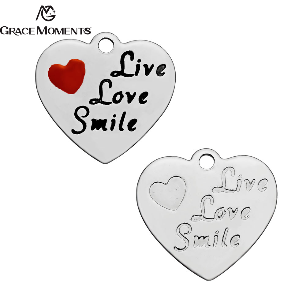 Grace Moments 10pcs Stainless Steel Charm Live Love Simle Women Jewelry Heart Shaped Charm Accessories Findings ...