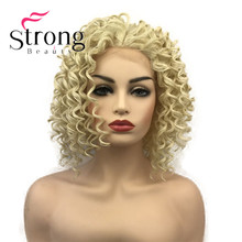 StrongBeauty Lace Front Blonde Curly Afro High Heat Ok Full Synthetic Lace Wig