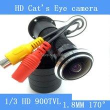 """Hd 5MP 170 gran angular con cable Mini visión nocturna puerta del ojo agujero cámara de vídeo en Color CCTV 1/3 """" Sony cámara de vigilancia"""