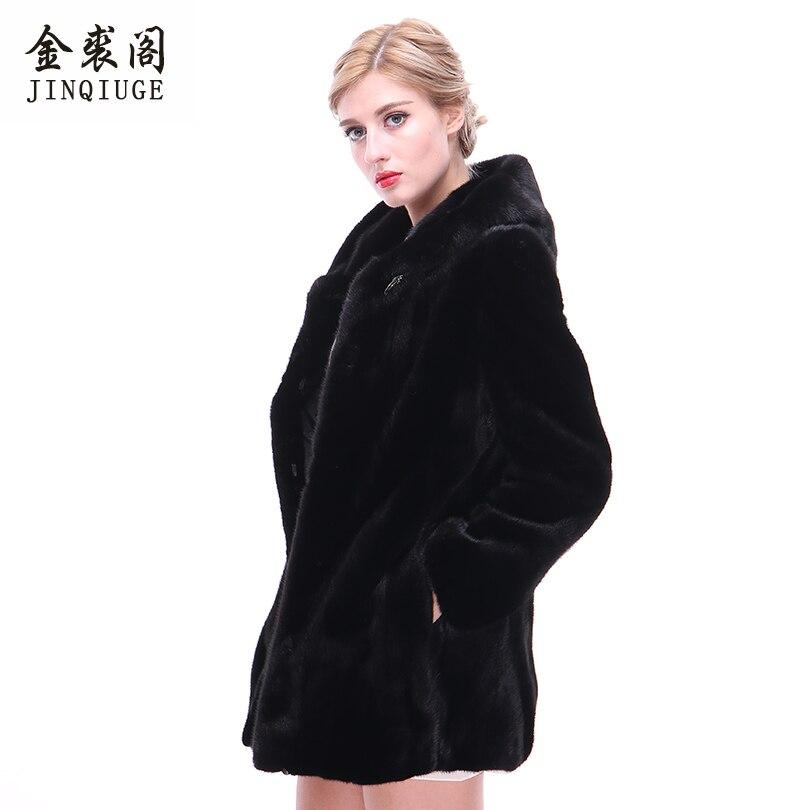 Avec De Manteau Fourrure Femmes Pour 75 Haute Manteaux Jinqiuge Cm Réel Noir Qualité Capuchon Vison Véritable D'hiver CqPRngw