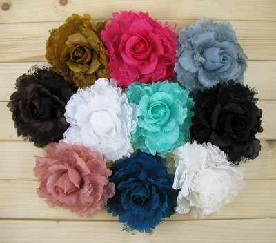 """40Piece/lot 5"""" Big Artificial Flower clips & brooch pins & hair holders ties hair accessories bows Boutique Barrette FL017"""