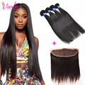 Malaysian Straight Hair 13x4 Lace Frontal Closure With Bundles Dark Light Brown 7a Malaysian Virgin Hair With Closure 4 Bundles