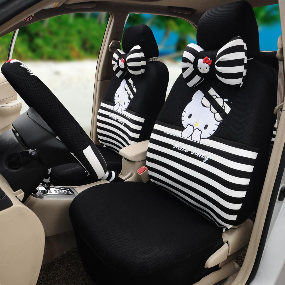 Hello Kitty 18pcs Black Universal Car Seat Cushion Covers Ice Silk Steering Wheel Cover Five Person In Automobiles From
