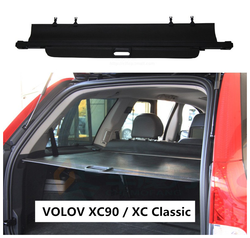 Car Rear Trunk Security Shield Cargo Cover For Volvo XC90 / XC Classic 2003-2014 High Qualit Black / Beige Auto Accessories car rear trunk security shield cargo cover for subaru tribeca 2013 2014 2015 2016 2017 high qualit black beige auto accessories