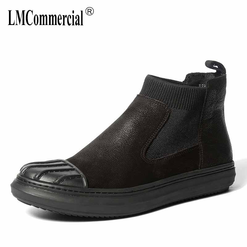 Real leather British men's Chelsea boots men high-top shoes short boots Martin boot man British retro all-match cowhide men new winter boots martin male tide high velvet warm shoes men british short boots all match cowhide cashmere men s casual shoes