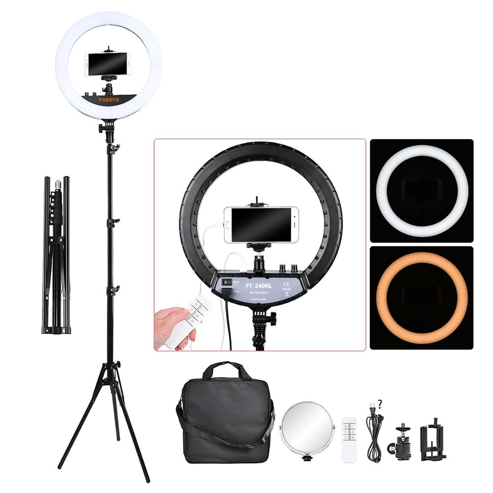 Fusitu FT 240RL 14 inch Dimmable Bi color 3000 6000K LED Ring Light With Stand Tripod