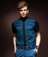 Free Shipping New Fashion Casual Personality Male Men S Palace Collar Double Stitching Slim Shirt 13223