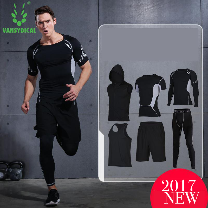 2017 Vansydical Men's Sport Running Suits  Quick Dry Basketball Jersey soccer Training Tracksuits jersey Men Gym Clothing Sets 2017 compression 5pcs men fitness clothing sets quick dry sports running suit hood basketball soccer gym training jogging suits