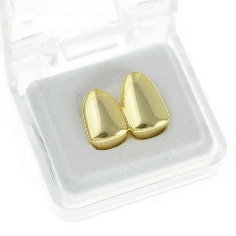 Gorra doble TOPGRILLZ chapada en oro amarillo, Grillz, Canina lisa, dos dientes, tapa derecha, parrillas individuales