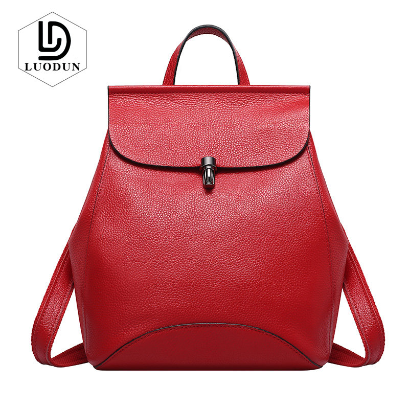 LUODUN 2018 spring and summer new fashion Genuine leather Korean first layer Litchi pattern leather lady backpack travel bag pu leather backpack litchi pattern student bag