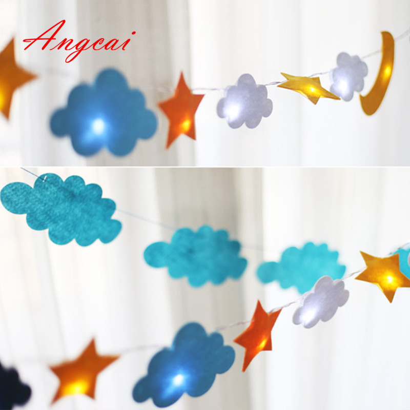 3AA Battery Powered, Felt Moon+star+clouds Design String Lights,children Room ,Patio,Wedding,Party Luminaria Christmas Decor