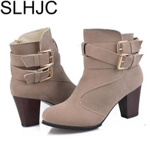 SLHJC Women Boots Leather High Heel Ankle Boots Women Fashion Square Heel Casual Autumn Winter Rubber Pumps 7 CM Heel