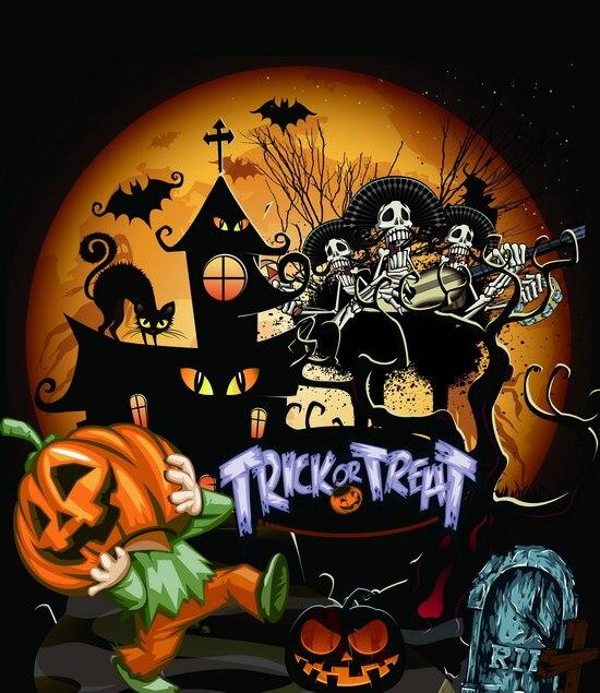 Пиратский замок Хэллоуин Тыква жуткий фон винила высокого качества Ткань Компьютер печатных партии Фоны