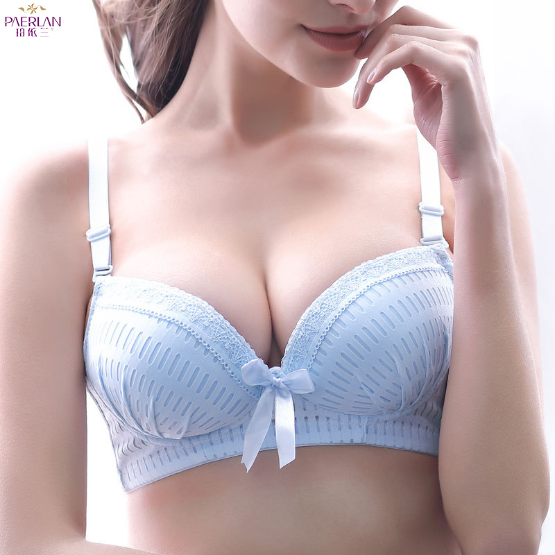 PAERLAN New Comfort B Cup Thin Lace Girl Wire Free Bra Push Up Traditional Sexy Womens Underwear Bow Decoration