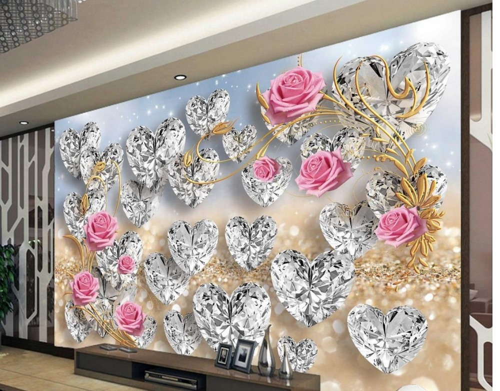 Custom photo wallpaper 3d stereoscopic rose diamond murals for Custom mural wallpaper