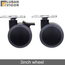 3 inch PU dubbele wiellager met rem Flat panel installatie of geen, Mute Wearable, Voor medische apparatuur