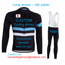 2016 Professional Custom Long Sleeve Cycling Jersey And Bib Pants Sets Customize Bicycle Clothing Breathable Top Quality NO MOQ