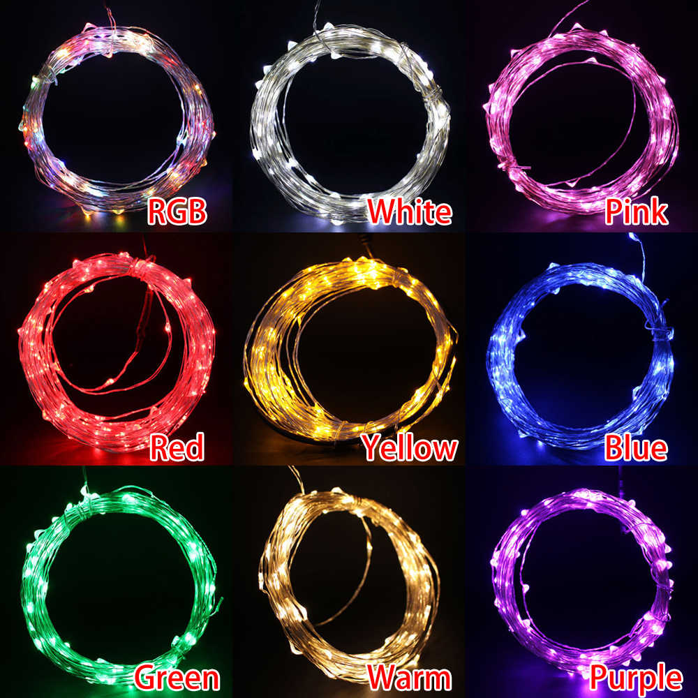 10M 100LED String Light USB 5v Waterproof LED Copper Fairy Lights Holiday Outdoor Lamp for Christmas Party Wedding Decoration