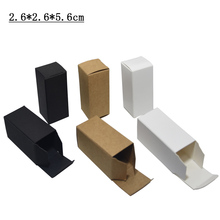 50pcs/lot Black/Brown/White Small Kraft Paper Box Cardboard Package Boxes For Perfume Oil Bottle Packaging (2.6x2.6x5.6cm)