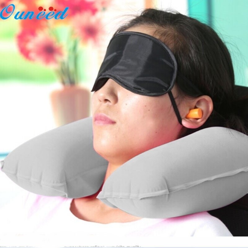 Ouneed Happy Gift Inflatable Travel Pillow Neck U Rest Air Cushion+ Eye Mask+Earbuds
