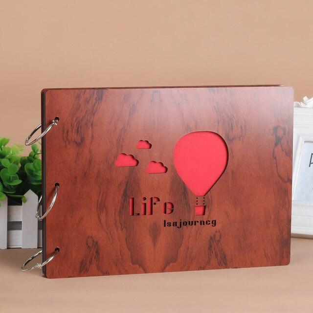 27 19 5 cm photo album scrapbooking en bois couverture cadeau d 39 anniversaire bricolage photo. Black Bedroom Furniture Sets. Home Design Ideas