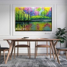 Oil painting high quality Hand Painted modern Colorful Forest Tree Canvas Painting wall Art Picture for Living Room