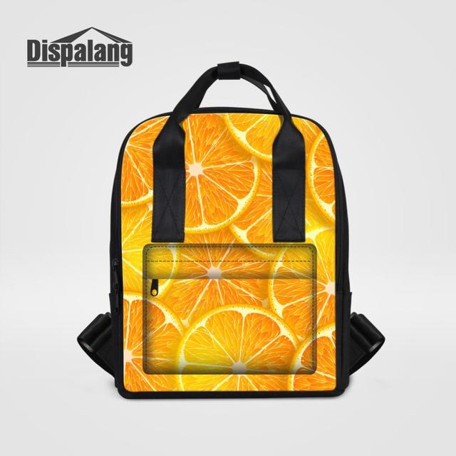 Dispalang Orange Women Backpack Fruits Print Laptop Backpack Female School  Bag Girls College Student Casual Travel Shoulder Bag 81503c2b113a5