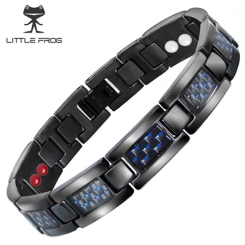 POUCO SAPO Mens Azul Fibra De Carbono Cadeia Pulseira de Saúde Energia Germânio Pulseiras Pulseiras para Homens Jóias de Titânio Magnética