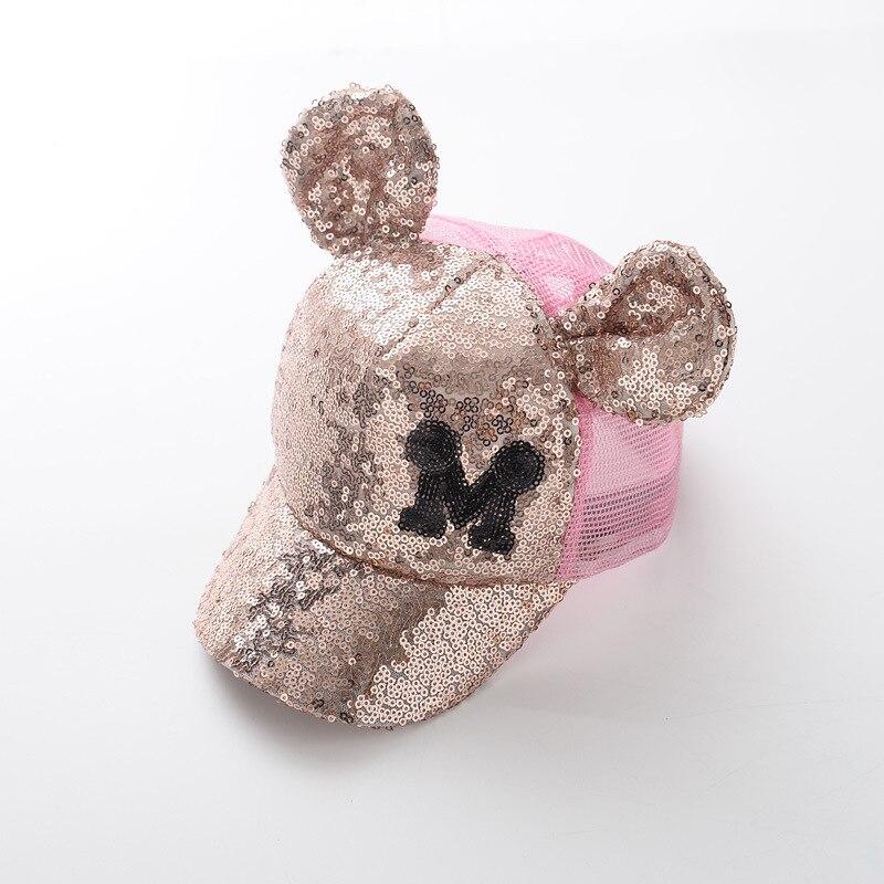 Prix pour Enfants d'été paillettes Mickey oreilles dentelle ventilation net cap baseball cap Soleil chapeau pour garçons filles